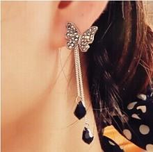 BB118 Bling Beauty Korean jewelry butterfly pendant tassel earrings