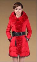 2014 new winter coat big yards women hooded fur collar coat thick padded Girls Slim Korean winter long section