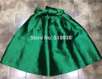 New arrival women 2014 autumn winter fashion ball gown umbrella green cute bow skirt knee length black casual empire skirts