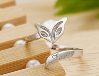 1pc 2014 latest 100% sterling silver Platinum Plated Fashion Trendy Fire Fox Ring free size