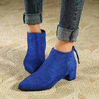 2014 Spring Autumn Brand Designer European Style Pointed Toe Women Ankle Boots Medium Heels Ladies Shoes Female Footwear