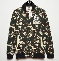 2014 new fall and winter selling high quality military camouflage ape head men's baseball uniform cardigan sweater jacket