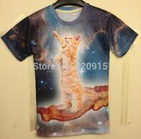 Harajuku New Summer 2014 Women/Men Clothing Cat Universe Space Galaxy Print Fashion 3D T Shirt Punk sportwear Crop Tops Tees