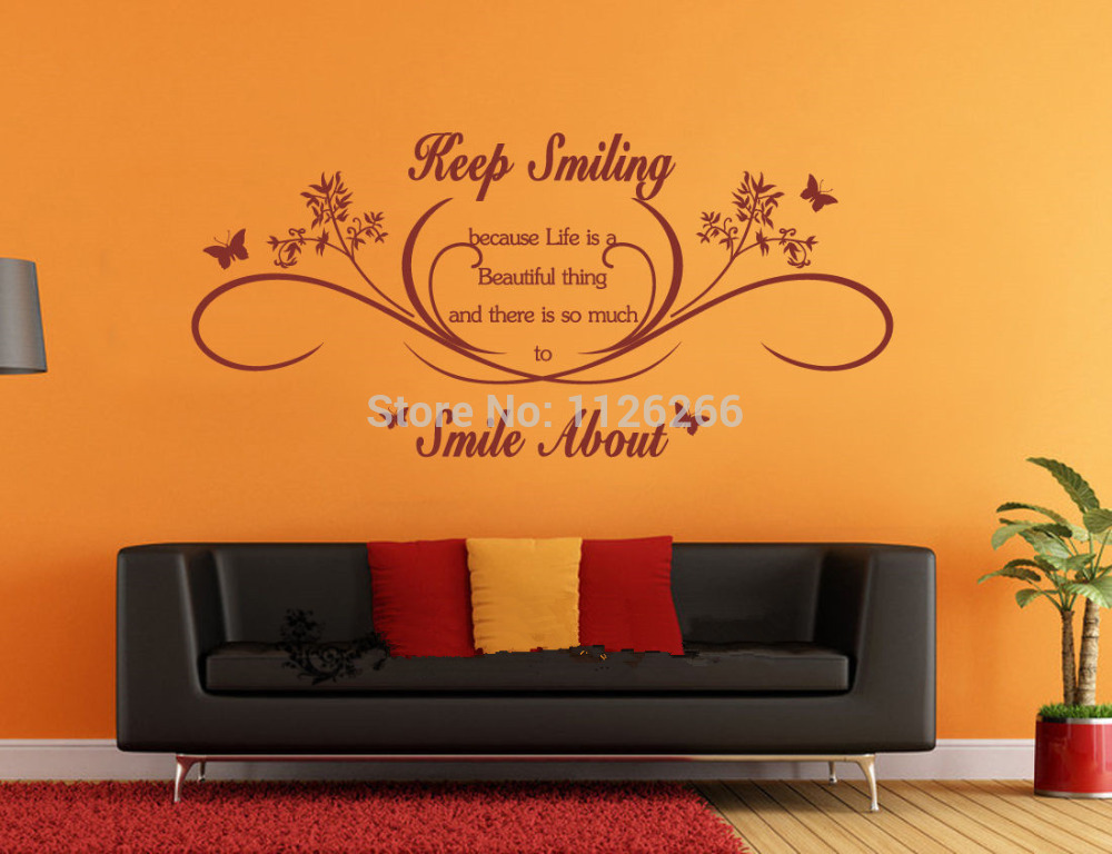 Removable Wall Art Decals Quotes : Keep smiling wall art quotes removable stickers
