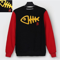 2014 new winter selling fish bones embroidery hedging sweater lovers male and female street casual sweater coat