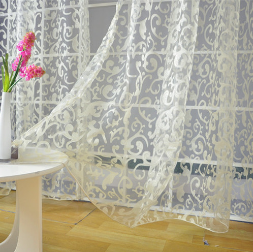 Free shipping modern rustic design jacquard organza tulle curtain fabric for window(China (Mainland))