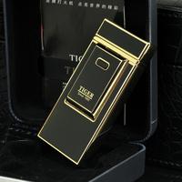 Tiger arc lighter USB charging lighter metal windproof ultrathin personality electronic cigarette lighter