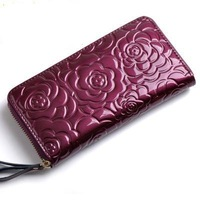 2014 Hot selling Luxury patent leather women's wallets gentlewoman long design Coin Purse Emobossed flower fashion wallet QB31