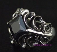 925 sterling silver Four sides black auger man 925 silver ring