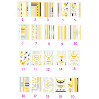 100Pcs Per Lot Wild Heart Love Infinity Feather Gold Silver Foil Metalic Temporary Tattoos