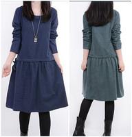 2015 PLUS SIZE winter dress women new Korean loose long-sleeved O-neck cotton casual dress Polka Dot autumn Dresses