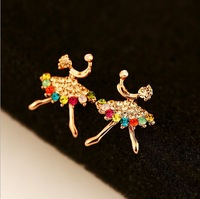 18k rose gold plated earring brand stud earring shiny colorful crystal dance girl earring brand cc earring top quality