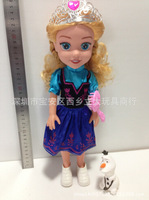 Wholesale 2014 New Arrival 14inch frzen musical queen Elsa and Anna with Olaf snowman dolls for girls