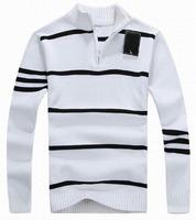 NEW Striped Polo Sweater American Men's Sports Leisure Collar Half Zip Sweaters Spring Winter Autumn