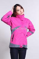2014 fashion women outdoor sports hooded jacket waterproof windproof ski mountaineering clothing Free Shipping