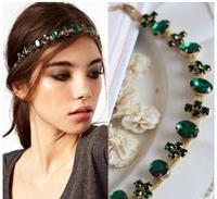 T147 2014 Hair Jewelry Headbands Wedding Bridal Fashion Green Brand Rhinestone Crystal