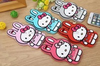 High Quality New 3D Sweet Cute Fashion Hello kitty Rabbit Cartoon rubber phone case cover pendant for iphone6 4.7/Plus5.5