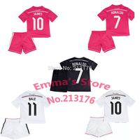 2015 Real Madrid Kids soccer Jersey White Pink Black Dragon RONALDO JAMES CHICHARITO 14 15 Real Madrid Children soccer shirt