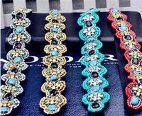 T210  2014 Hair Jewelry Headbands Wedding Bridal Fashion Party Vintage turquoise Rhinestone Crystal