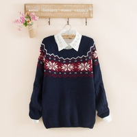 2014 fashion women's winter snowflake embroider o-neck warm pullovers knitted loose sweater embroider cardigans free shipping
