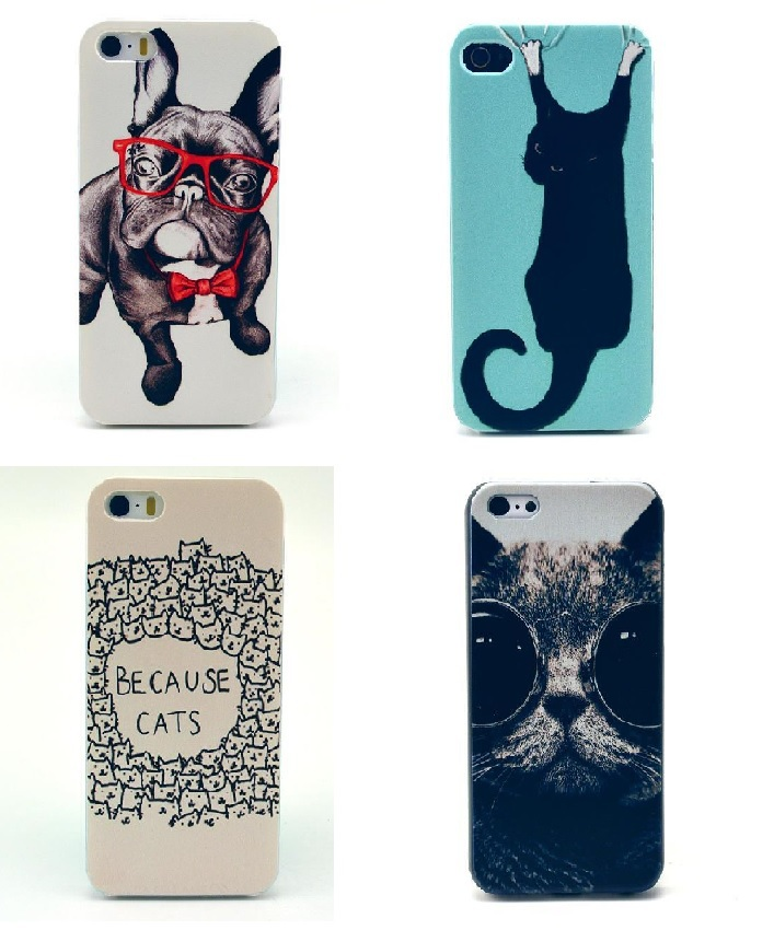 New Cute Cartoon Cat&Dog Animal Style Hard Plastic Back Mobile Phone Case Cover For Iphone 4 4S 5 5S(China (Mainland))