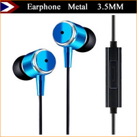 New 2015 Metal Earphone Earphones and Headphones With MIC 3.5MM For Mobile Phones MP3 MP4 With Retail Box Support Free Shipping