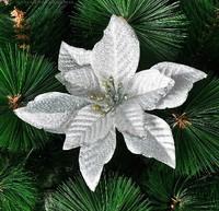 Free Shipping 2014 Christmas Tree Ornament Tree dressed decorative pendant 13cm silver high-grade three Christmas flowers