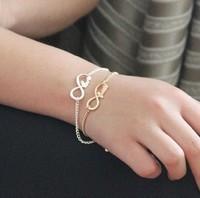 New Hot Sale Silver Gold Plated Dream Love Infinity Charm Bracelets For Women Pulseiras Femininas