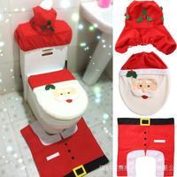 Christmas Santa Claus Bathroom toilet seats cover mat -Toilet cover +contour rug + tank cover, thermal potty 3 piece set