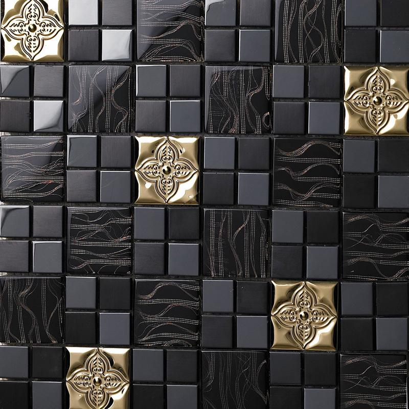 Schwarz Mosaiken Gold Metall Glasfliese Edelstahl Backsplash K U00fcche