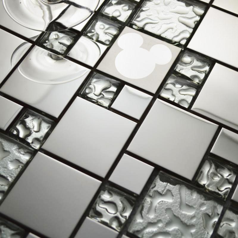 Стеклянные плитки мозаики случайных Микки Маус узор серебряный бокал кухня backsplash плитки из нержавеющей стали зеркало в ванной стены плитка