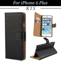 100pcs/lot Free Shipping Credit Card Slots Wallet Stand Genuine Leather Case Cover For iPhone 6 Plus