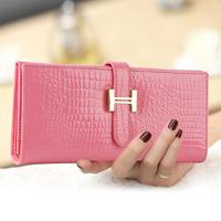 2014 NEW DESIGN fashion genuine leather wallet women long style crocodile cowhide purse  leather bag women wallets purse