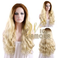 """Long Body Wavy 14""""-28"""" Brown Mixed Light Blonde Lace Front Wig Heat Resistant Synthetic Wig #Color & Style# As the Picture Show"""