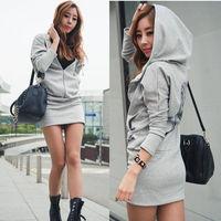 Casual Womens Wing Hoody Dress Blouse Long Sleeve Zipper Pocket Coat Outwear Top