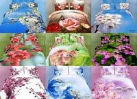 Plum Blossom White Flower Butterfyl White Swan 4pcs queen/full comforter/duvet covers 3D Floral bed linen Wholesale bedding sets