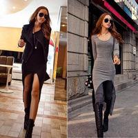 Women's Hot Long Sleeve Slim Irregular Asymmetric Hem Long Split Dress Sexy New