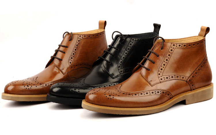 Fashion brand black brown mens boots genuine leather shoes mens dress