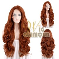 """Sexy Style Body Wavy 14""""-28"""" Reddish Brown Lace Front Wig Heat Resistant Synthetic Wig #Color & Style# As the Picture Show"""