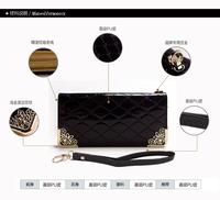 2014 new korean patent leather print zipper women wallet, phone bag for girl