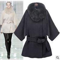 Women Winter Fur Collar Woolen Jacket 2014 New Thick White Wool Coat  Fashion Wool And Blend Women Black Warm Thick Outerwear XL