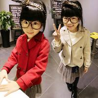 2014 new autunm girls coat kids short paragraph wool coat girls fashion red cloth