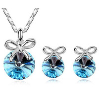 Top AAA Quality Wholesale Price Bowknot Butterfly Crystal Jewelry Set Free Shipping all over the world