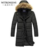 2014 New Winter warm coat raccoon fur collar men leisure parkas Warm coats for men Men's down jacket High quality  Free shipping