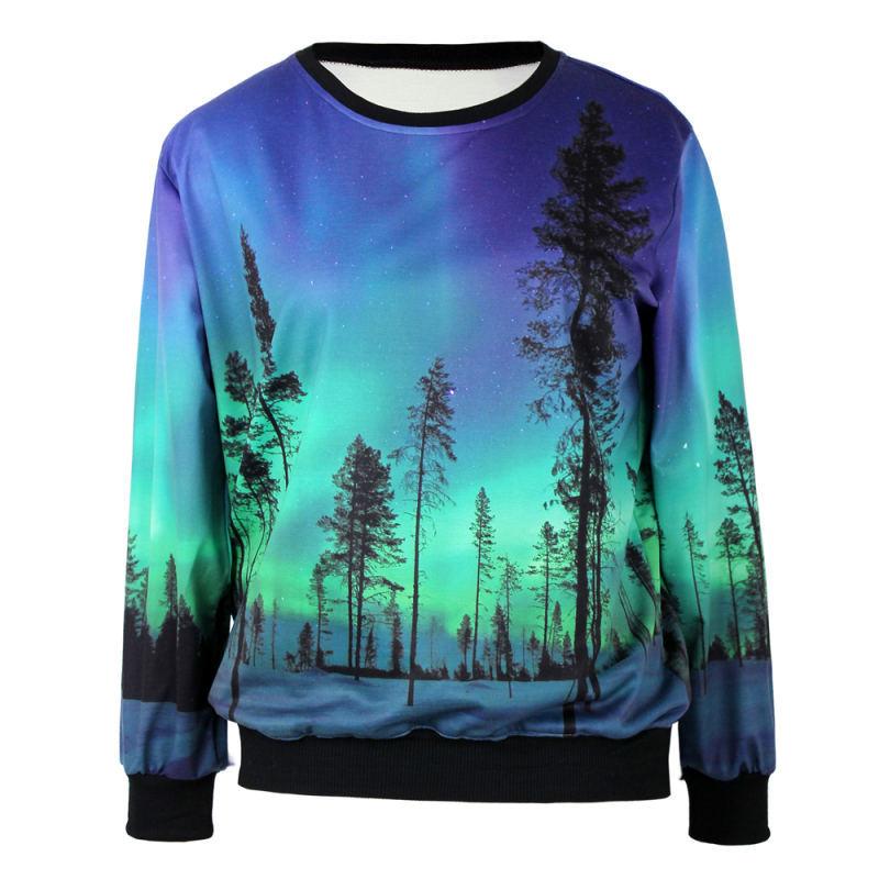Autumn and Winter 2014 Fashion Women Hoody Galaxy Aurora 3D Printed Black Milk Women Sweatshirt WY-40825(China (Mainland))