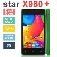 "Original Phone New Star X980+ MTK6572W Dual Core Android 4.2 4.0"" TFT Screen 256MB RAM 512MB ROM 3G WCDMA smartphone GPS WIF 0"