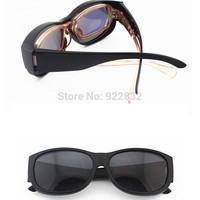 Wrap Around Sunglasses OVER Prescription Glasses Wrap Around Fit Outdoor Sports-Matte Balck Fram Gray Lens