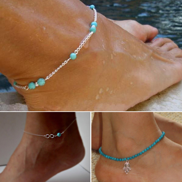 HOT Sexy Women Anklet Elastics Fatima Hand Turquoise Beads Bead Infinity Silver Chain Ankle Bracelet Foot
