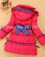 Retail 1 Pcs 2014 New Girl's Down & Parka Coats Children Medium-Long Duck Outerwear Baby Girls Winter Coat Jackets CC1511