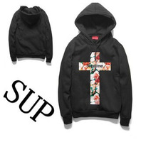 2014 hot new flower print hooded sweater coat thick beautiful flower lovers male and female cross jacket man hoody